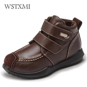 Winter Boys Boots Warm Fur Kids Snow Boot Fashion Waterproof Shoes Genuine Leather Children Sport Ankle Boots Plush Martin Boot