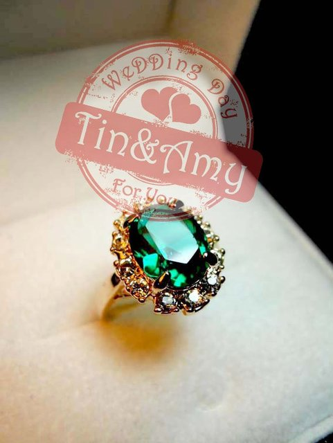 2013 LUSH LIFE Yellow Gold Grandmother Green/Ruby colour Crystal Rings 003