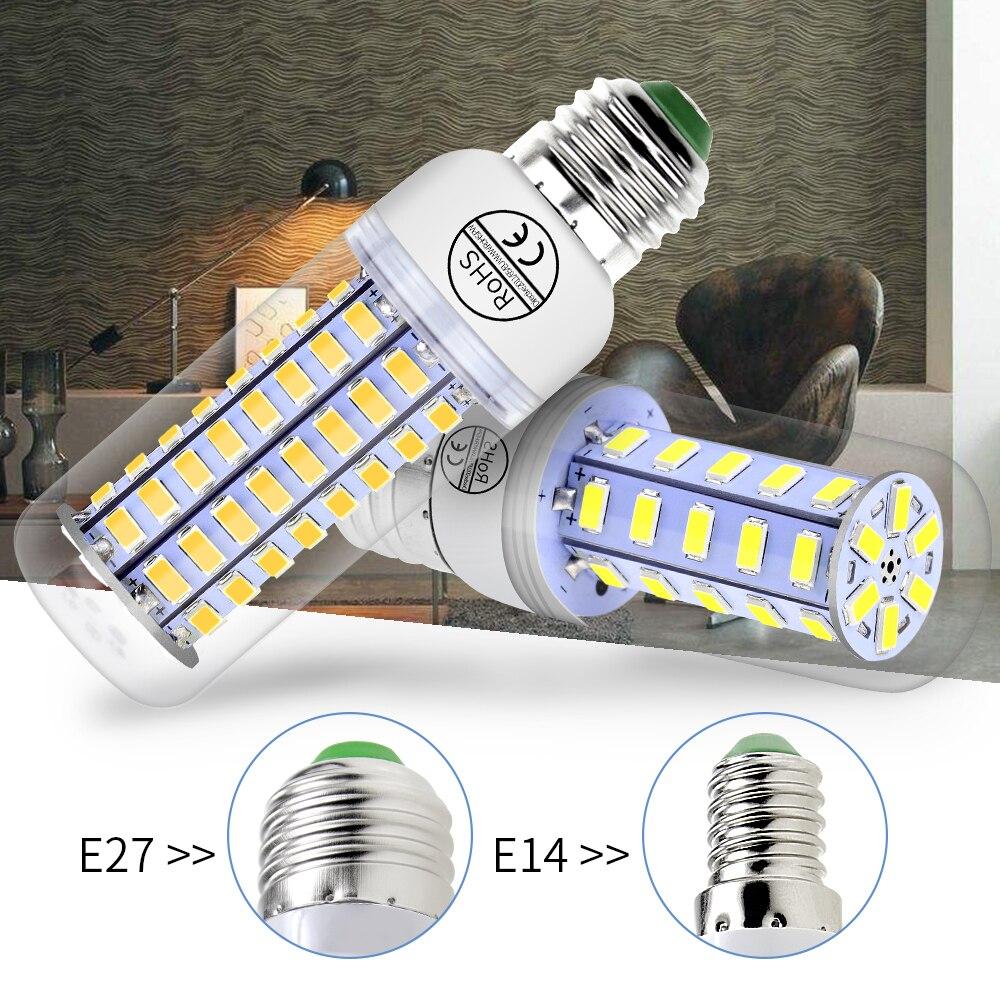 Led Lamp E27 5730SMD E14 Led Corn Bulb 220V Light 230V 24 36 48 56 69 72leds Chandelier luminaria Bedroom More Brighter Lighting