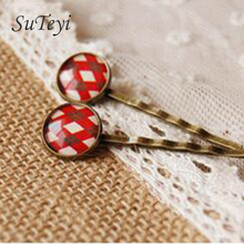 SUTEYI Scottish Lattice flower red cross Cabochon glass hairpins for girls Style Bronze Hair Clips handmade
