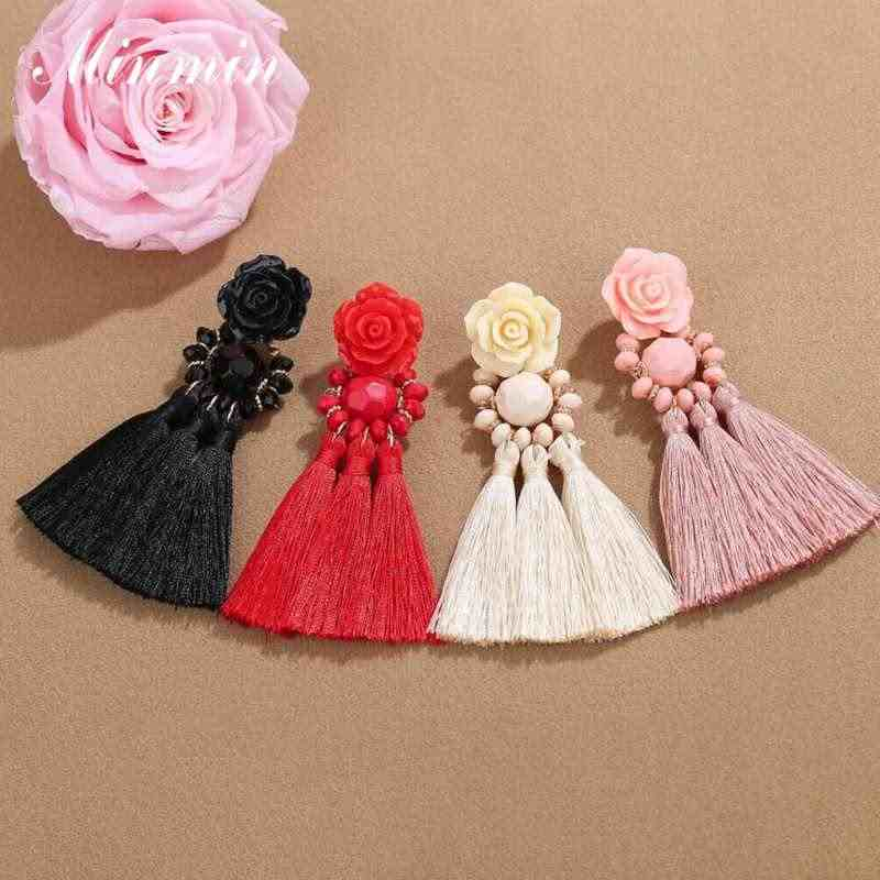 Minmin Rose Fringed Tassel Earrings for Women Girls Summer Statement Bohemian Ethnic Big Drop Earrings Fashion Jewelry MEH1484