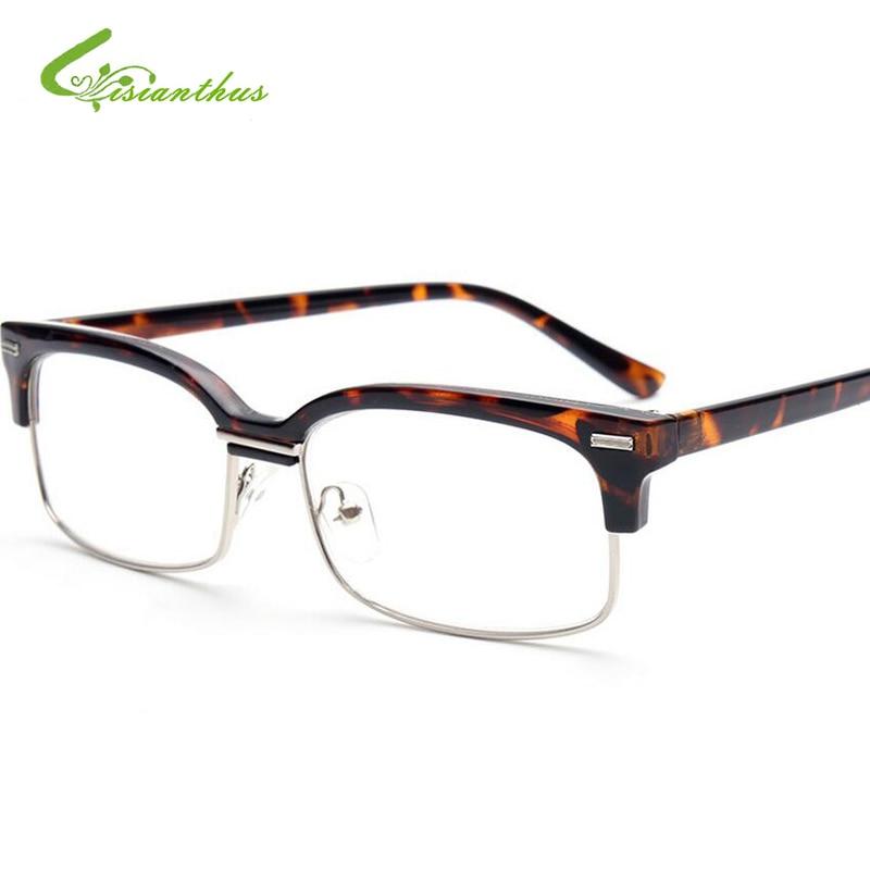 Fashion Transparent Reading Glasses Leopard Half-Frame Spectacles Glasses Reading Glasses 1.0-4.0 for Women Men Eyeglasses