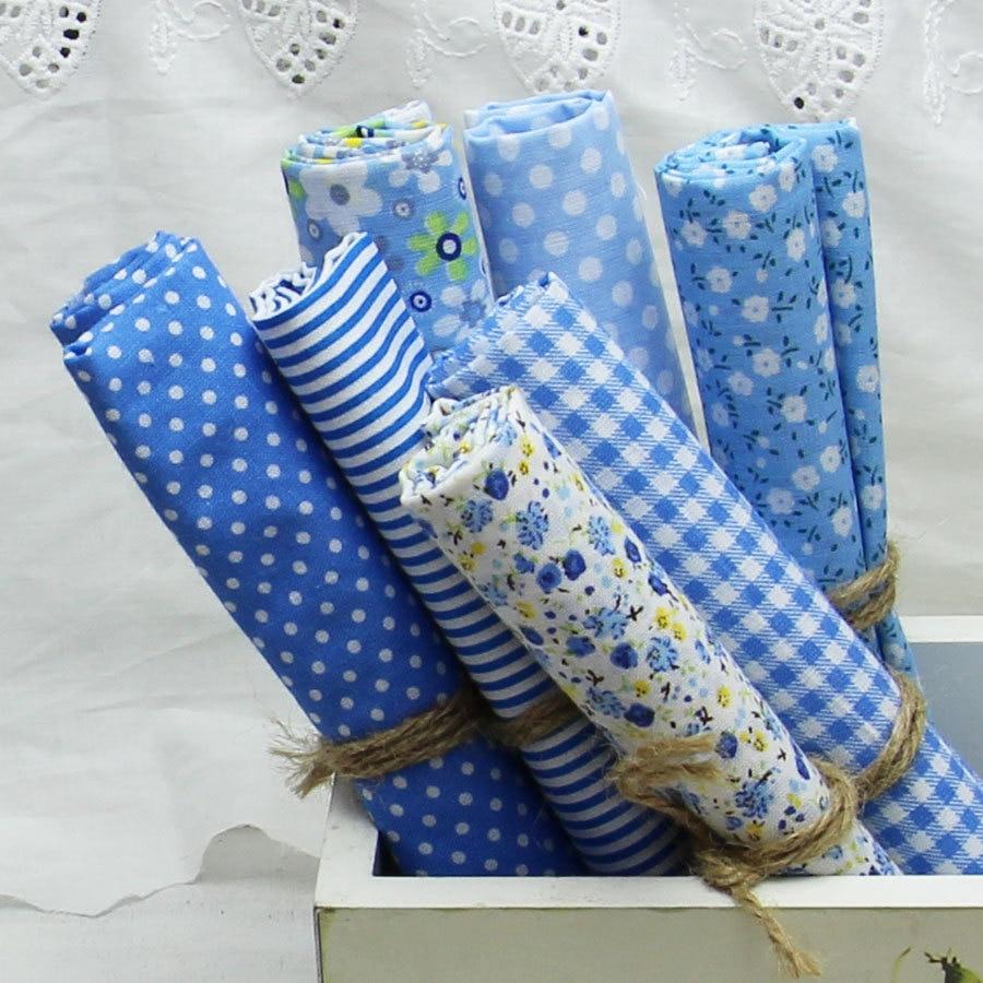 100 cotton fabric 7pcs lot plain light blue cotton for Cotton sewing material