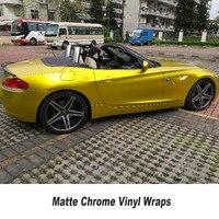 Gold Matte Chrome Vinyl Wrap Car Stickers With Air Bubble Free Chrome Foil Car Wrap Styling