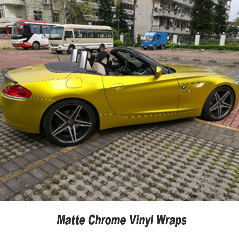 Gold matte Chrome Vinyl Wrap Car stickers with Air Bubble Free Chrome Foil Car Wrap styling covering size 5ft X 65ft/Roll car styling matte chrome brushed metallic vinyl film car stickers and decals automobiles car body wrapping foil air bubble free