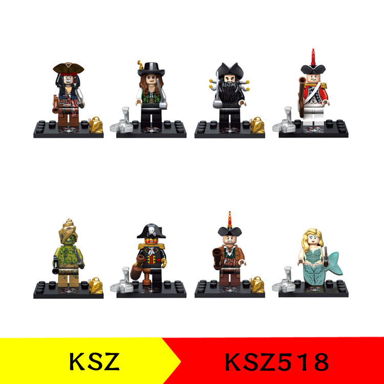 Pirates of the Caribbean Figure Captain Jack Sparrow Barbossa Salazar Will Carina Smyth Building Block Toy compatible with