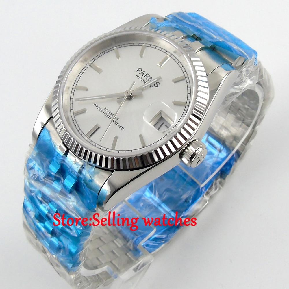 36mm Parnis silver dial Sapphire glass date Miyota automatic mens women watc p07