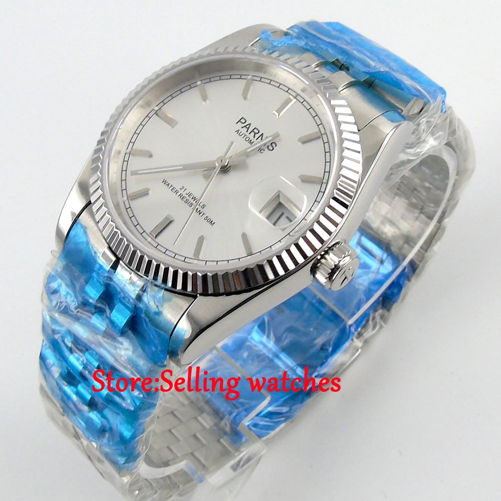 36mm Parnis silver dial Sapphire glass date Miyota automatic mens women watc p07 42mm parnis withe dial sapphire glass miyota 9100 automatic mens watch 666b
