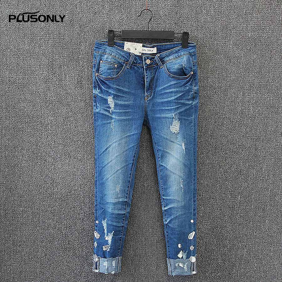 Hole Denim Jeans Female Bleached Slim Pencil Pants Trousers Casual Plus Size Ankle-length Ripped Jeans Blue KK2673 2017 ripped jeans women casual denim ankle length boyfriend pants women floral embroidered flares hole female slim pencil pants