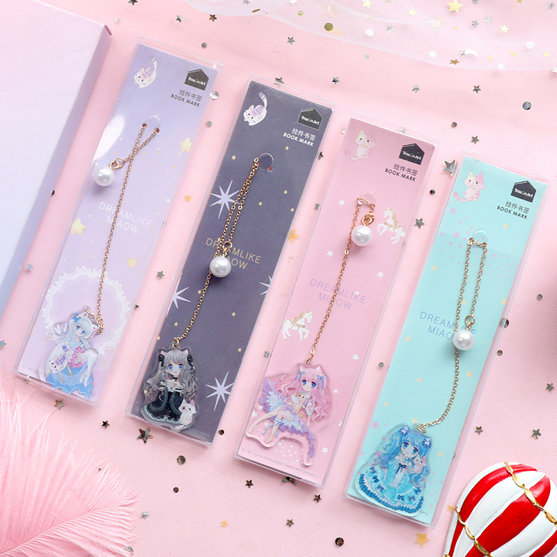 New Kawaii Cute Comic Pearl Pendant Metal Book Markers Bookmark For Books Paper Clips Office School Supplies Stationery