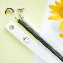 Kawaii Rainbow Wood HB Pencil Black and White Set Students Creative Writing School Office Stationery