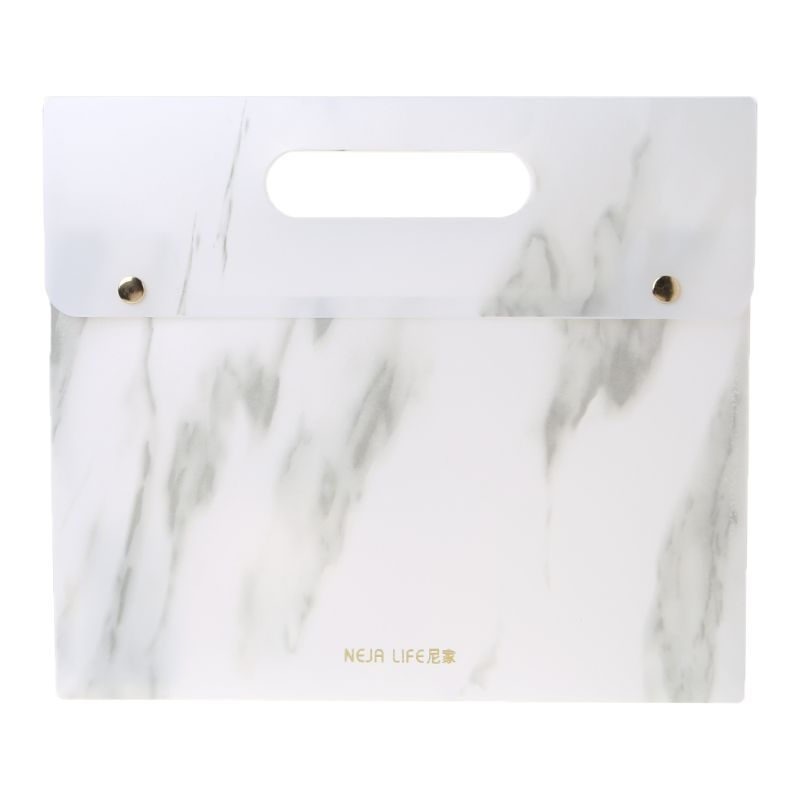 Portable Marble Pattern PP A4 File Folder Document Examination Paper Bag For Office School Students Supplies With Double Button