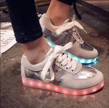 3 Colors Fashion Women LED Shoes Luminous USB Colorful LED Lights Shoes Women Casual Platform Light Up Shoes For Adults 5c55(China)