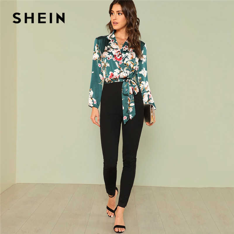 44a651e7971d SHEIN Office Lady Workwear Multicolor Boho Vacation Mid Waist Jumpsuits for  Women 2018 Knot Floral Wrap