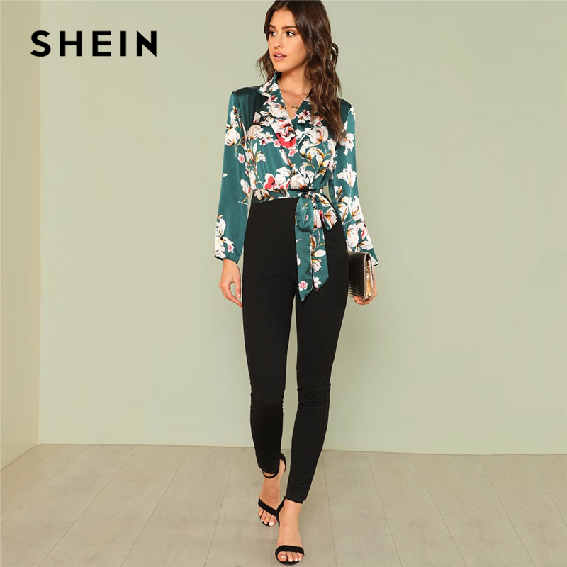SHEIN Office Lady Workwear Multicolor Boho Vacation Mid Waist Jumpsuits For Women 2018 Knot Floral Wrap Knot Casual Jumpsuit