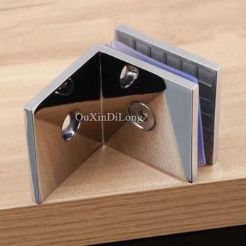 Top Designed 4PCS Stainless Steel 90 Degree Wall to Glass Holder Hinges Glass Clamps Brackets for 8-12mm Thickness