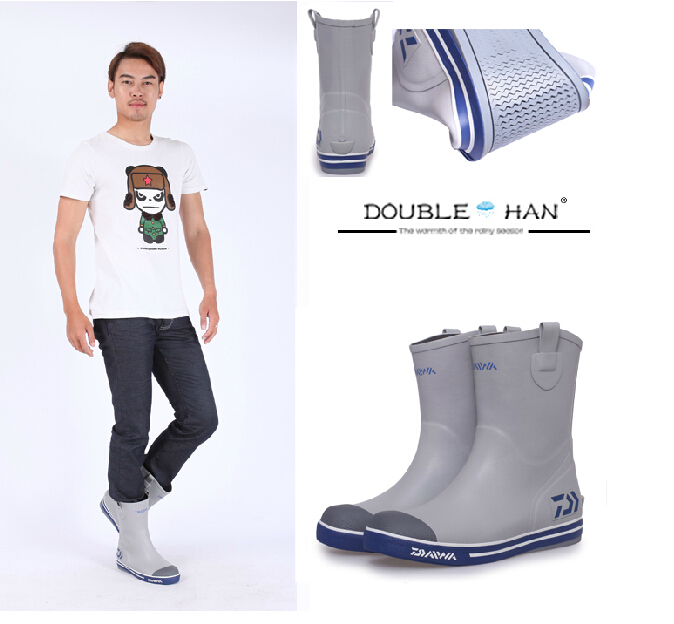 Fashion Men knee high slip resistant wear resistant rain boots ...