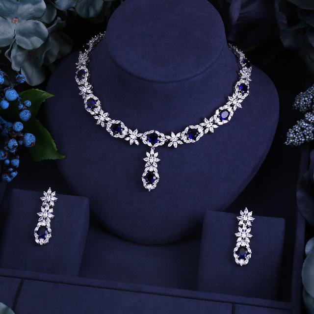 BLUE FAMOUS BRAND BRILLIANT CRYSTAL ZIRCON EARRINGS AND NECKLACE BRIDAL JEWELRY SET WEDDING DRESS ACCESSARIES
