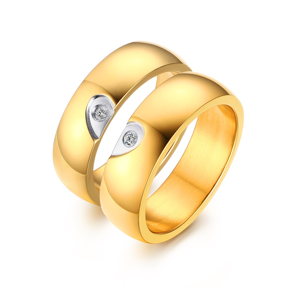 Jewelry Anillos 6mm Heart Style Rings For Jewelry New Fashion Plated Engagement Promise Of Cz Cr-109