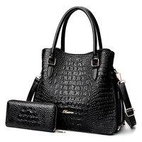 2 Pcs/set Women Composite Bag Shoulder Portable Female Bag Crocodile Pattern Embossed PU Crossbody Bag Messenger Bag Wallet Set