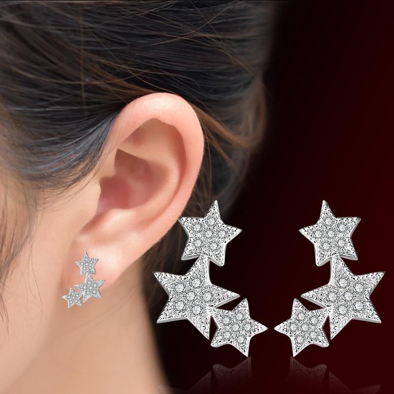 New Hot Fashion Woman Jewelry Crystal Windmill Ear Stud Silver Plated Earrings