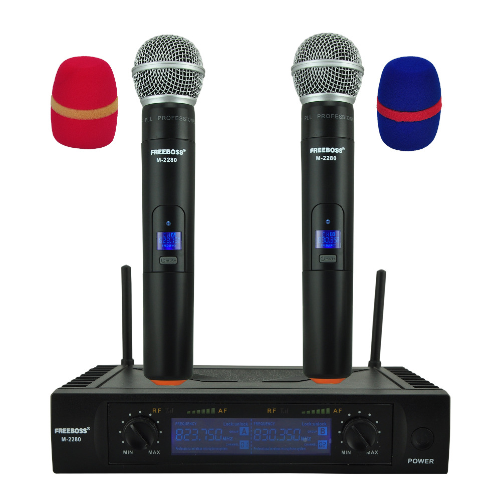 Freeboss M-2280 UHF Wireless Microphone with Screen 50M Distance 2 Channel Handheld Mic System Karaoke Wireless Microphone freeboss m 2280 50m distance 2 channel headset mic system karaoke party church uhf wireless microphones