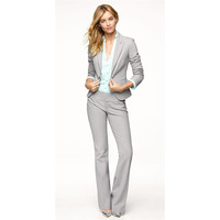Light Gray Women Pants Suits Blazer Business Work Wear Uniforms Ladies Pant Suits Trouser Suit Women Formal Blazer+Pants