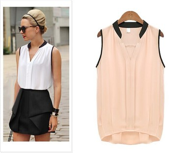 2018 Sexy Summer Women OL Shirts Chiffon Blouses Black Splice Sleeveless Shirts Female Tops Casual Clothing Femininas Blus