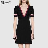 JOYDU Summer Dress 2018 Newest Runway Design Striped Ruffles Plus Size Sexy Dresses For Women V