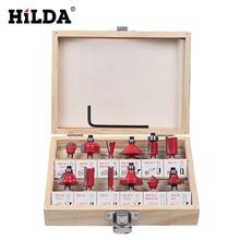 HILDA 12Pcs Milling Cutter 8 MM Router Bit Set Wood Cutter Straight Shank Carbide Cutting Tools Milling Cutter Dill Bits Sets