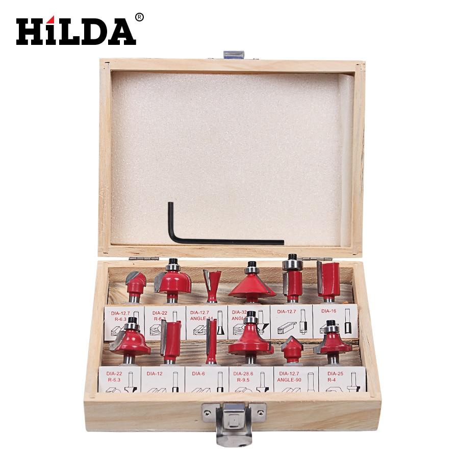 Hilda 12 pcs fraise 8mm routeur bit set bois Cutter Tige Droite Carbure Outils De Coupe Fraise Aneth Bits ensembles