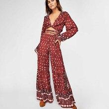 5d617eeb12f Burgundy Boho 2 Piece Set Women 2019 Summer Long Sleeve Deep V Neck Maxi Crop  Top Pant Sets Ladies Vintage Sexy Chic Set Suit