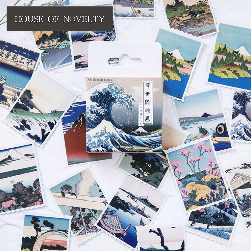Creative Ukiyo Pictures Decorative Stationery Stickers Scrapbooking DIY Diary Album Stick Label