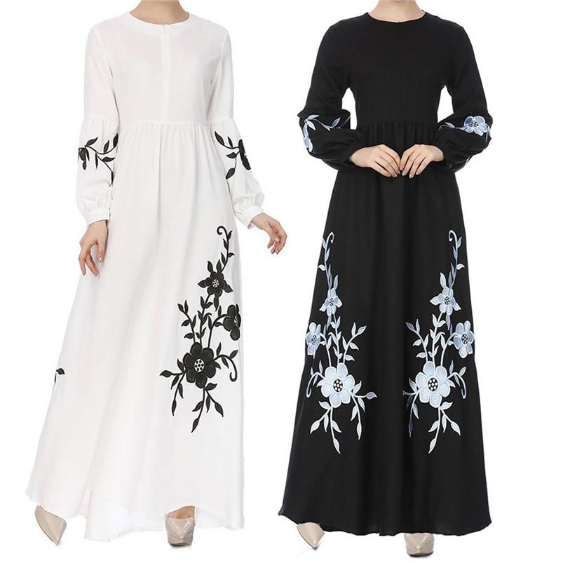 1PC 2018 Summer Dress Women Muslim Chiffon Solid Long Sleeve Long Maxi Dress Vintage Embroidery Dress Vestidos Wholesale #FM30