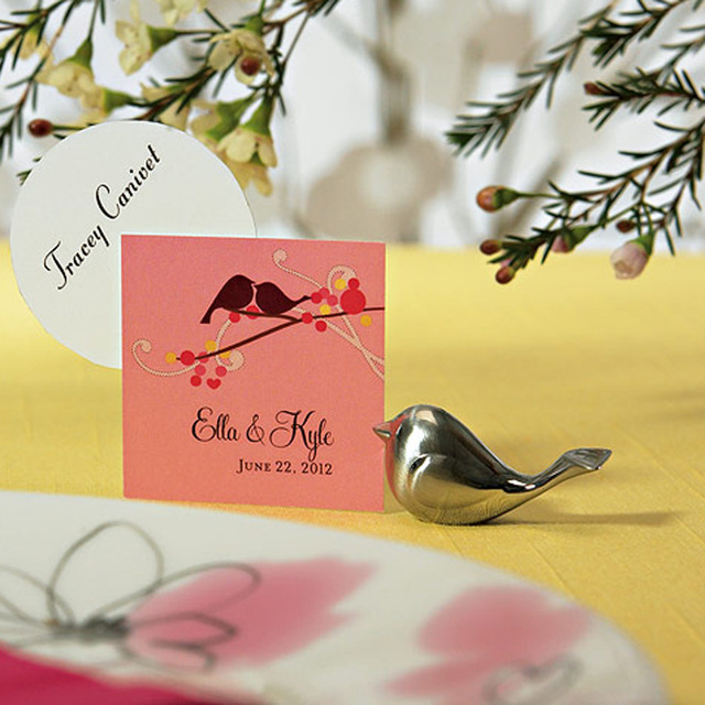20pcs/lot Silver Love Bird Wedding Place Card Holder Favors and ...