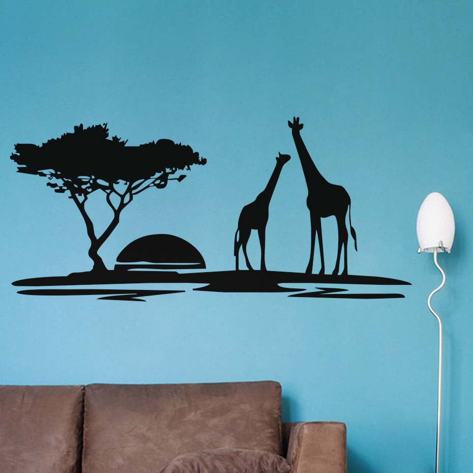 The giraffes in Jungle Sunset Wall Sticker Vinyl Wall Art Large Home Decor Animal Decal for Living Room Bedroom Mural-in Wall Stickers from Home & Garden