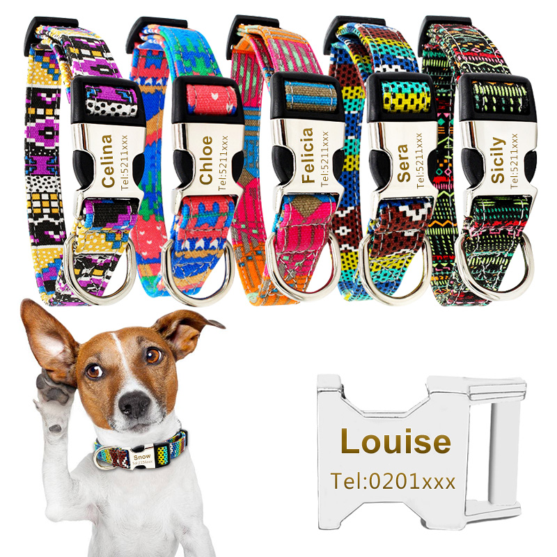 Customized Dog Cat Collar Personalized ID Collar Engrave Free Pet Name Tel Engraving Necklace For Small Middle Large Dog 40