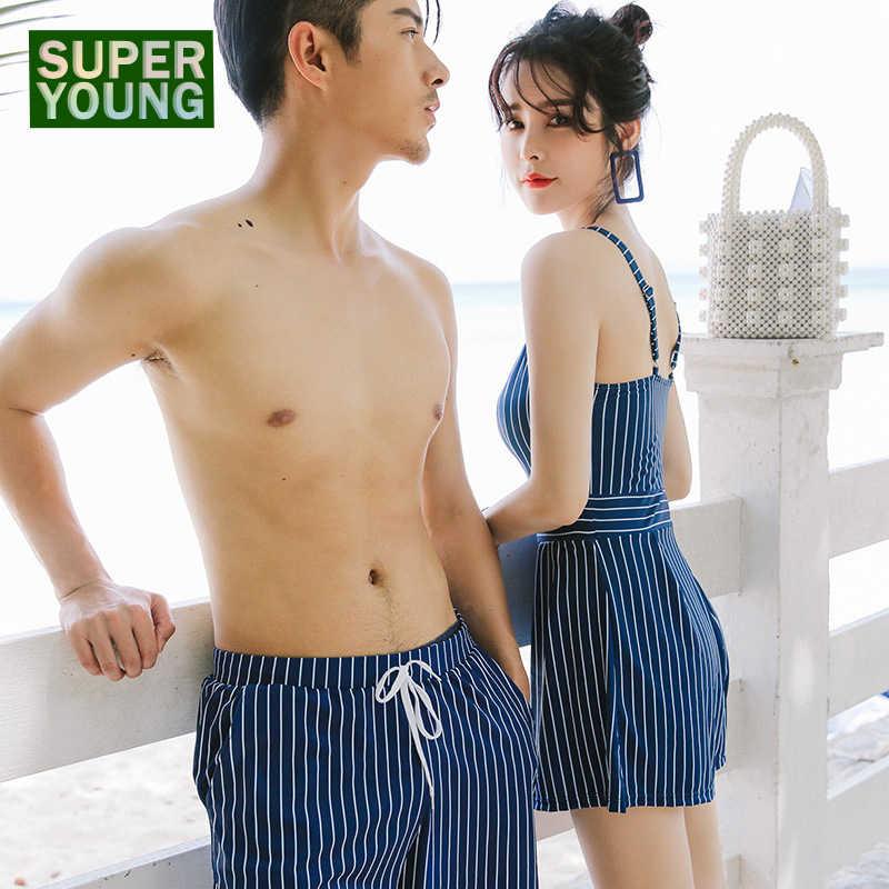 1a2f0f2ce8d Women Men Couple Matching Striped Swimming Suit Sexy Bikini One Piece  Swimsuit Family Beach Swimwear Trunks