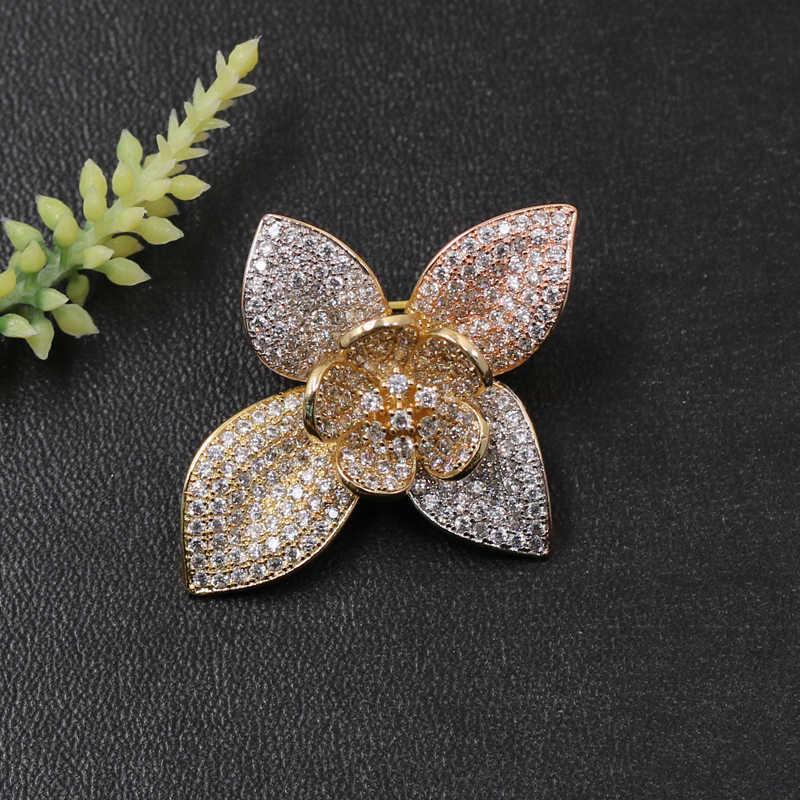 Lanyika Fashion Perhiasan Sandblasting Beruntung Clover Bros Liontin Dual untuk Keterlibatan Perjamuan Mewah Bridal Hadiah Terbaik