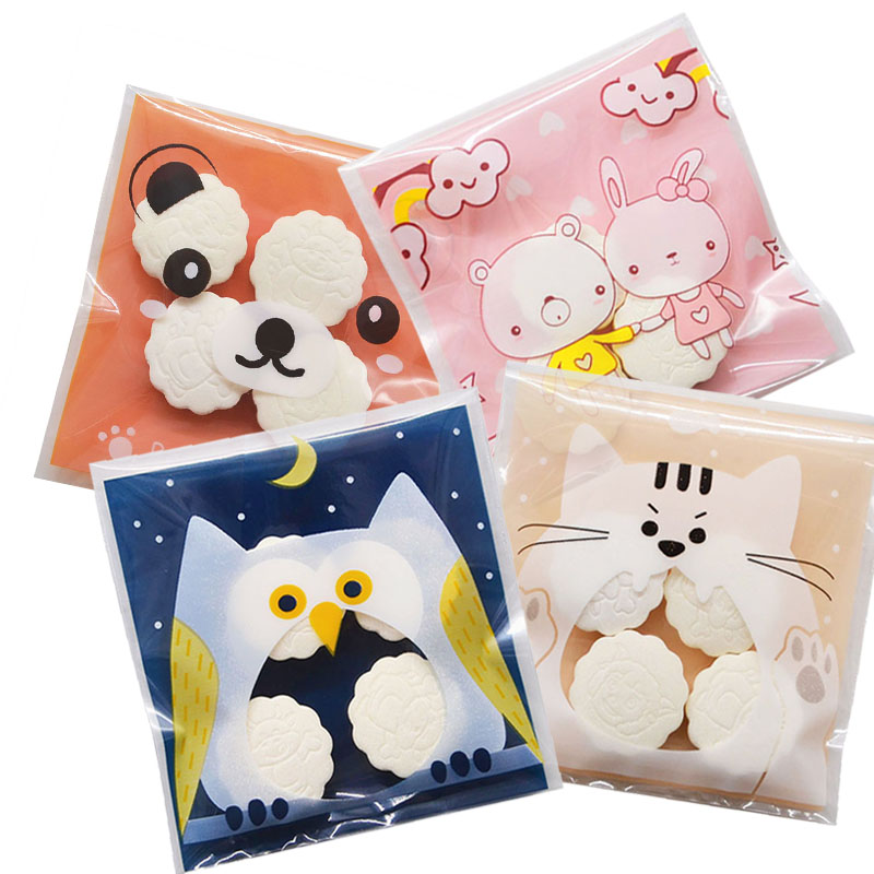 50Pcs Cute Cartoon Candy Gifts Bags Birthday Party Cookie Packaging Self-adhesive Plastic Bags For Biscuits Candy Cake Package