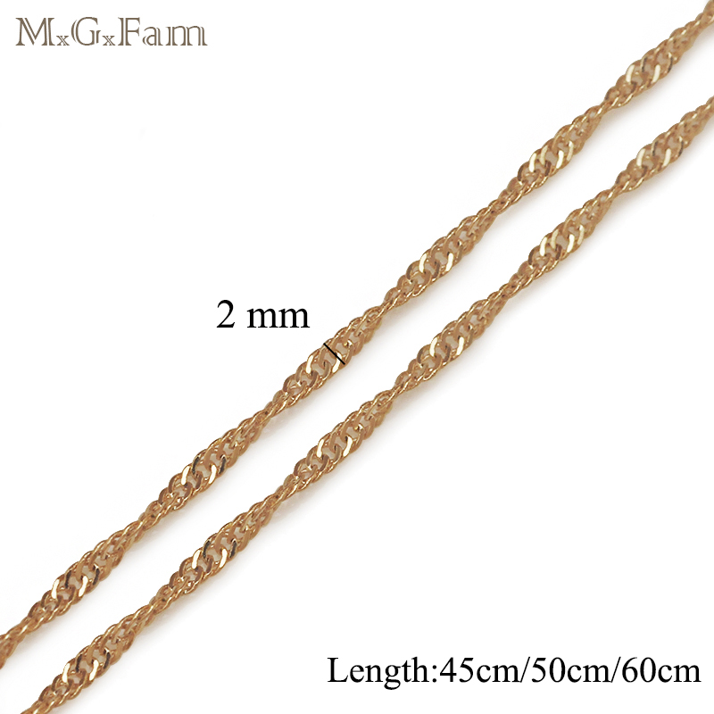 MxGxFam 45CM/50CM/60CM 18 yellow Gold Color Tiny Water Wave Chains (Special Price) for Matching Pendants