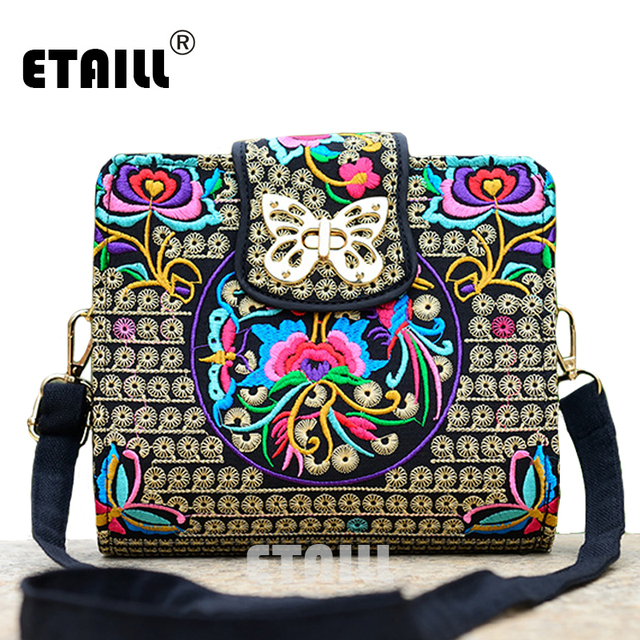 Double Side Ethnic Embroidered Sling Bags Embroidery One Shoulder Cross-body Sling Bag 2