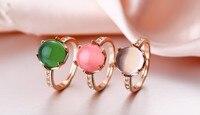 Grade ultimo Lusso Ragazze Gioielli Anello della signora gemma pietre Naturali verde ROSA BIANCO pietra Bella Belle ANELLI 6 78 9 #