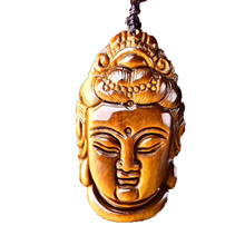 Drop Shipping Tigers Eye Stone Pendant Hand Carved Guanyin Buddha Necklace With Chain Lucky Amulet Fine Jewelry For Men Gift недорого