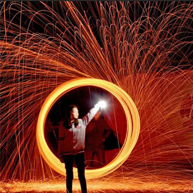 인기 급상승 사진 화려한 불 같은 사진 Selfie 도구 스틸 울 라이트 페인팅을위한 고품질 금속 섬유 장시간 노출