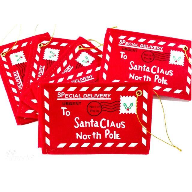 10 pcs Lettera Sacchetto di Caramelle Per Natale Babbo Natale Feltro Busta Ricam