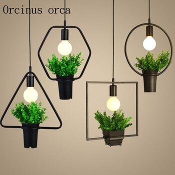 Vintage Retro industrial wind plant chandelier American restaurant art creative living room simple Nordic lamps