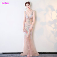 Brilliant Transparent Prom Dresses Long 2018 Sexy Party Evening Gowns V Neck Tulle Crystal Beading Formal