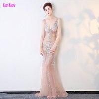 Rực rỡ Transparent Prom Dresses Dài 2018 Đảng Sexy Evening Gowns V-Cổ Tulle Pha Lê Beading Formal Prom Dress Bất Photos