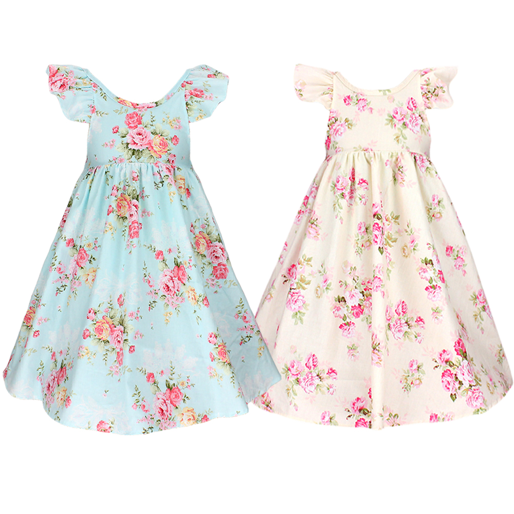 baby girl dress 2016 New latest vintage floral girls dress baby girls summer style stripe dress 1-6year